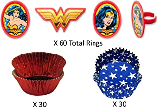 WONDER WOMAN LOGO BIRTHDAY WAFER CUPCAKE FAIRY CAKE TOPPERS DECORATIONS x 30