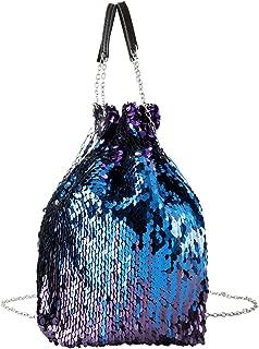 Women Reversible Sequin Crossbody Bucket Bag Paillette Drawstring Chain Strap Purses and Handbags