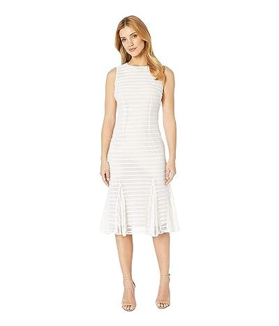 Adrianna Papell Knit Stripe Midi Trumpet Dress (Ivory/Light Petal) Women