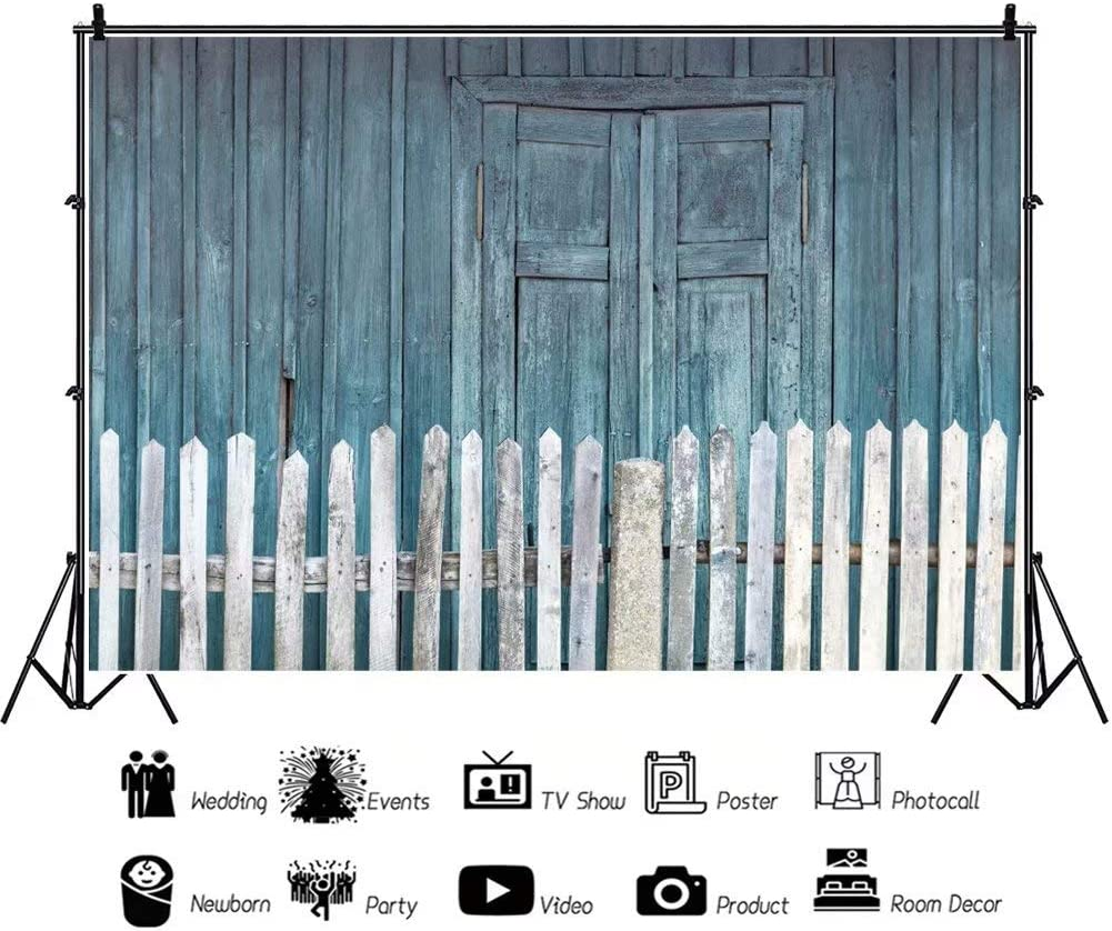 DaShan 14x10ft Picket Fence Rustic Barn Door Backdrop for Barnyard Party Photography Shabby Wooden Doors Front Background Countryside Western Cowboy Theme Kids Boy Party Decor Photo StudioProp