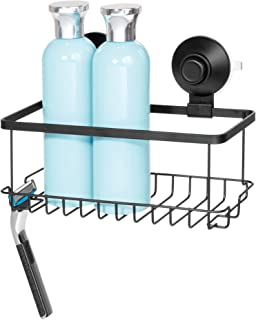 iDesign Everett Metal Push Lock Suction Shower Caddy, Extra Space for Shampoo, Conditioner, and Soap with Hooks for Razors...