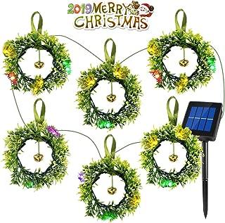 Idefair Solar LED String Lights,Solar Chain String Fairy Lights,Solar Garland, Artificial Milan Leaves Greenery Garlands for Indoor Outdoor Wedding Garden Decor,6 Wreaths,9.84 ft (Solar Powered)