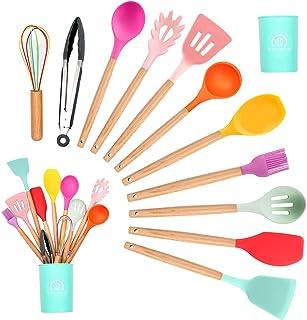 KEPEAK Gadgets en Silicone de Cuisine Set, Spatule Coloré Cuisine Antiadhésive avec Support, Poignée en Bois Outils de Cui...