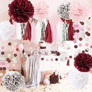 Qian's Party Bridal Shower Decorations Burgundy Pink White Silver Wedding Decorations Tissue Paper Pom Pom Tassel Garland Burgundy Pink Birthday Party Decorations/Bachelorette Party Decorations