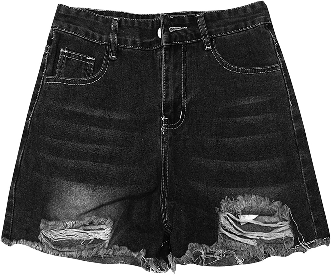 Casual Frayed Jean Shorts for Women Summer Destroyed Hole Denim Hot Short Pants Stretch Ripped Short Jeans With Pockets (Black,Medium)