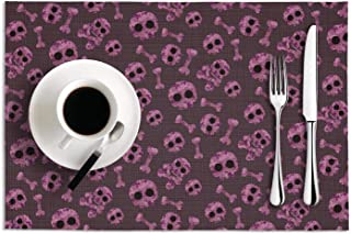 PVC Camouflage Skul pink Cute Table Mats Placemats Set of 2 Anti-skid Tablemats Heat Resistant Dining Table Mats