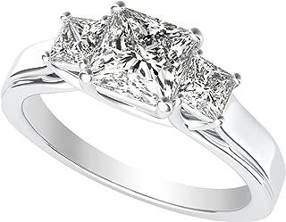 3 Three Stone Princess Diamond Engagement Ring 14K White Gold (I-J Color Value)