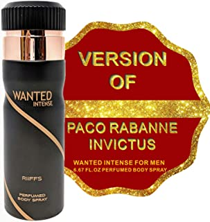 WANTED INTENSE Deodorant Body Spray for Men, Fresh Scent Body Mist Spray Masculine Fragrance, Gift for Holidays, for all Skin Types and Daily Use, 6.67 Fluid Ounce