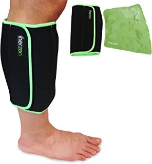Inerzen Shin and Calf Support Hot and Cold Gel Therapy Wrap - Includes Hot or Cold Gel Pack for Pain Relief - Microwavable, Freezable, Reusable (One Size Fits All)