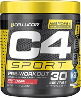 C4 Sport Pre Workout Powder Fruit Punch - NSF Certified for Sport + Preworkout Energy Supplement for Men & Women - 135mg C...