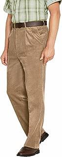 Mens Luxury Cotton HIGH-Rise Corduroy Adjustable Pleated Trouser Pants