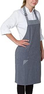 Chefwear Chef Bib Apron for Men & Women, 100% Denim Cotton with Two Patch Pockets, Railroad Stripe