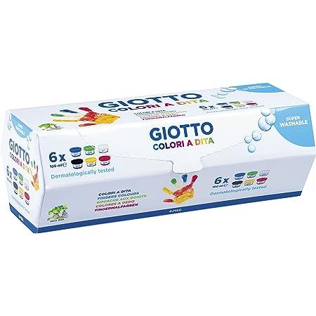 Giotto-218951 Estuche 6 botes pintura a dedos, 100 ml cada uno, colores surtidos, Multicolor (534100)