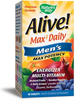 Nature's Way Alive! Max3 Daily Men's Multivitamin, Food-Based Blends (1,130mg per serving) and Antioxidants, 90 Tablets