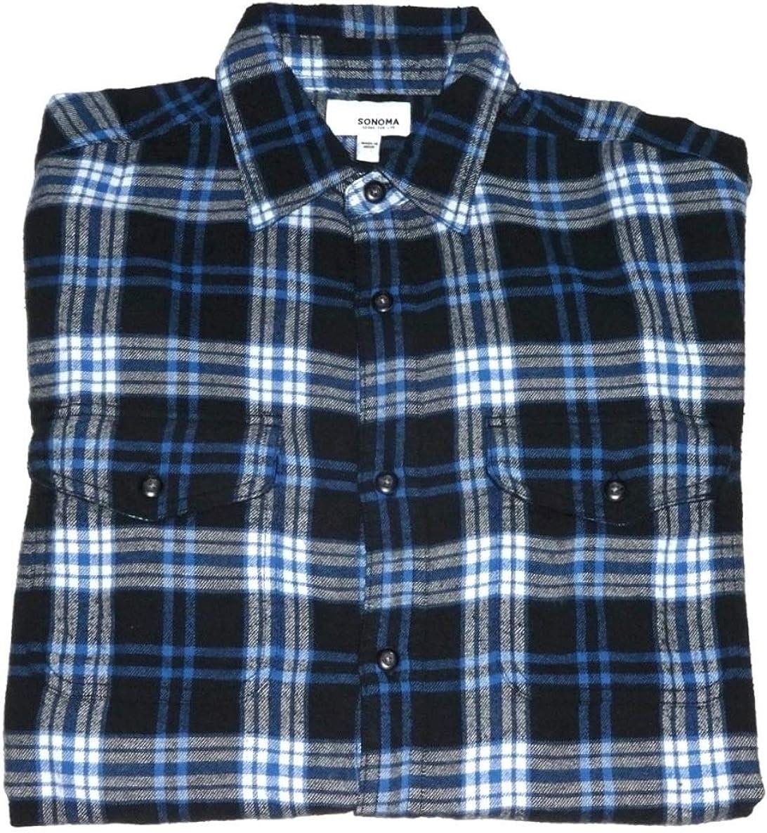 Sonoma Mens Classic Fit Flannel Long Sleeves Shirt Blue Black Plaid - 2 Chest Pockets