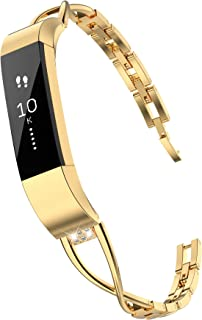 TOYOUTHS Compatible with Fitbit Alta Bands and Fitbit Alta HR Bands, Rhinestone Replacement Bands Accessories Straps Wrist Bands for Women, Gold