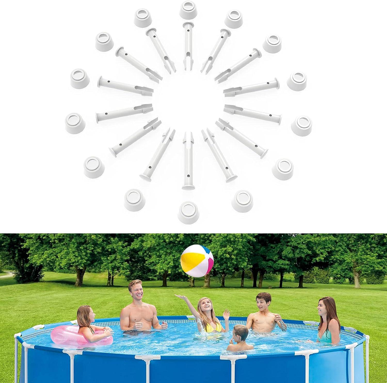 Winthai 14 pasadores de plástico para juntas de piscina y 14 sellos de goma para piscinas Intex de 13 a 24 pies sobre el suelo y piscinas rectangulares de marco de metal Intex 28270-28272 (5,5 cm)