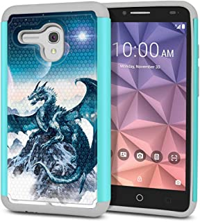FINCIBO Case Compatible with Alcatel Onetouch Fierce XL 5054 Flint, Dual Layer Football Skin Hybrid Protector Case Cover Anti-Shock TPU for Onetouch Fierce XL - Blue Ice Dragon