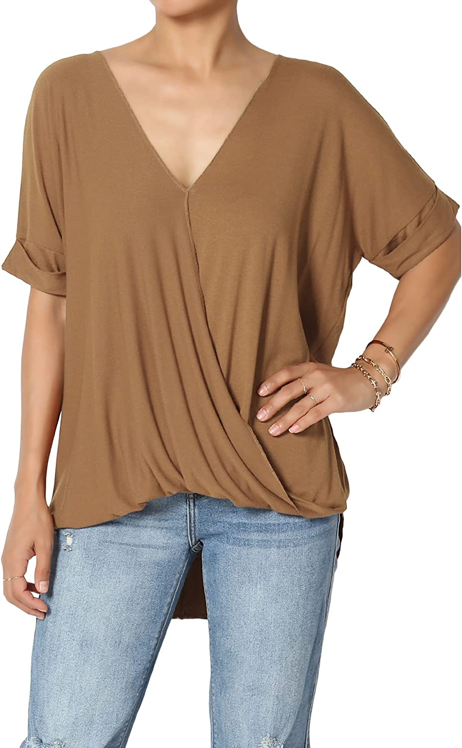 TheMogan Casual Lightweight Short Sleeve Wrap V-Neck High Low Crepe Knit Top
