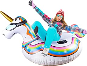 Glintoper Winter Snow Tube for Sledding, 47 Inch Inflatable Unicorn Snow Sled for Kids and Adults, Heavy Duty Snow Tubes w...