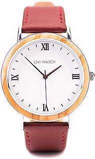 Ovi Watch - Relojes de Madera - Rojo Cuero Genuino