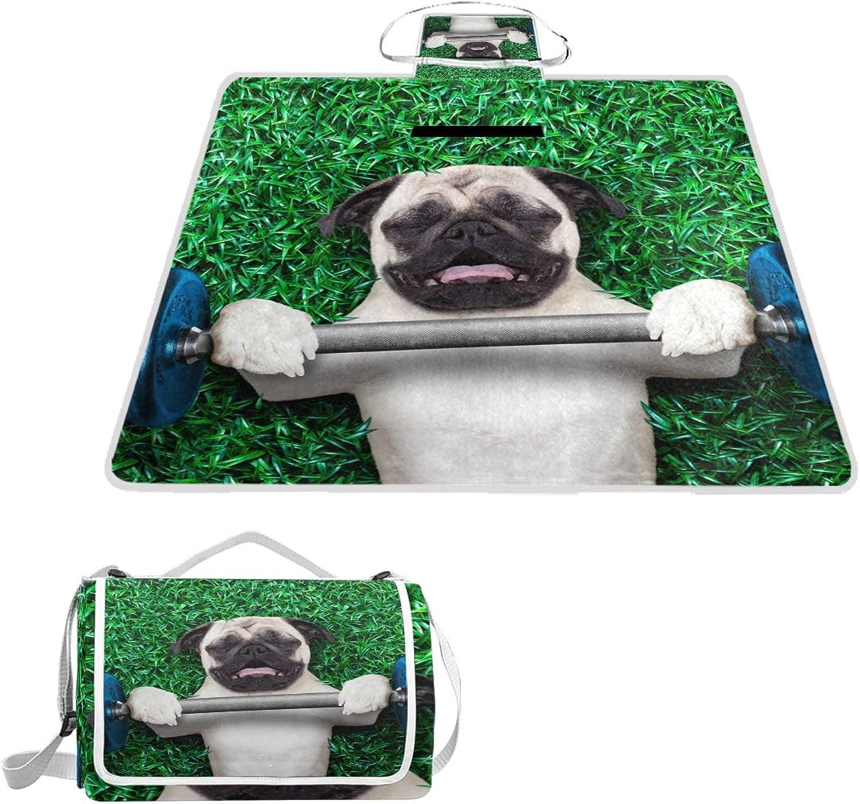 MASSIKOA Port Dog Pug Picnic Blanket Waterproof Outdoor Blanket Foldable Picnic Handy Mat Tote for Beach Camping Hiking