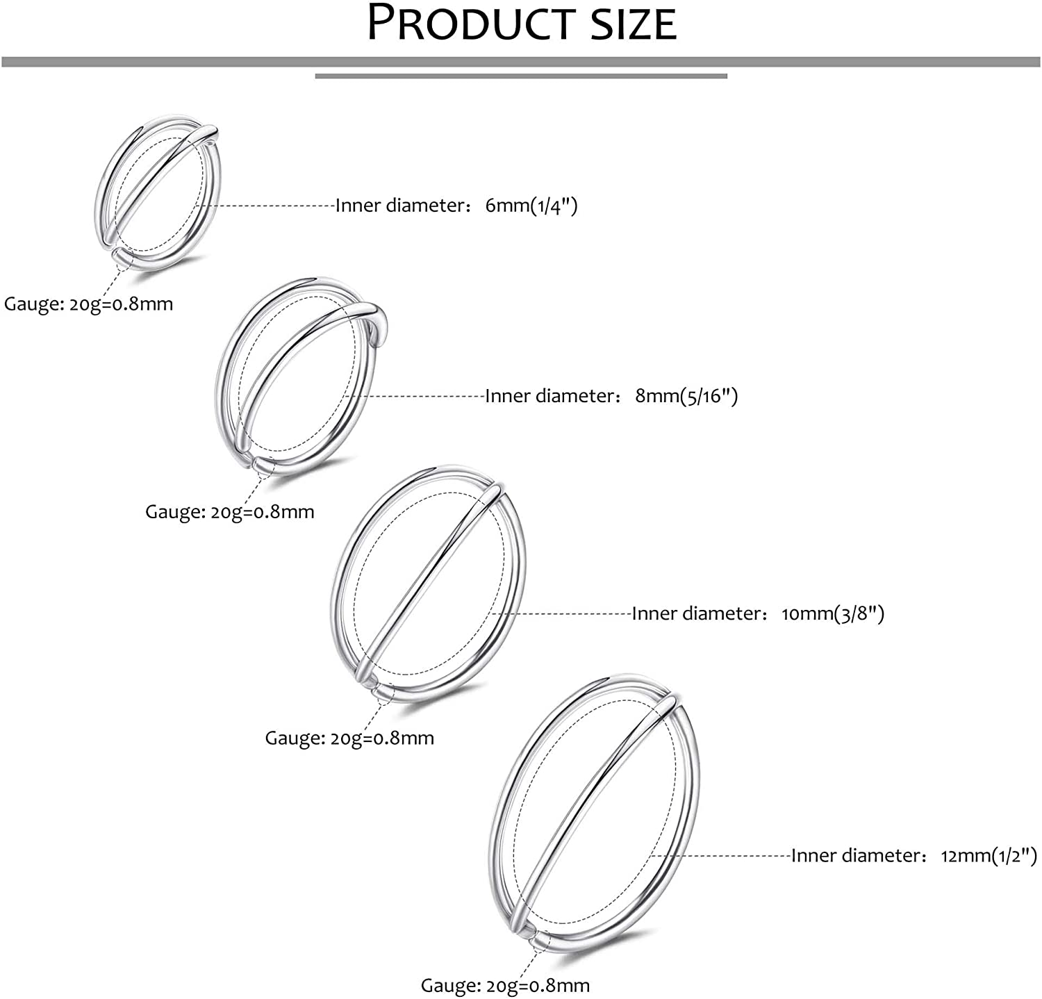 BodyBonita 6-18pcs Nose Rings Hoop for Women, Hypoallergenic Thin 20g Double Layered Nose Ring Hoop Septum Ring Cartilage Earring Conch Hoop Body Piercing Jewelry 6/8/10/12mm