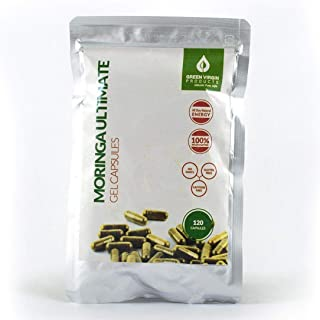 Green Virgin Moringa Oleifera Capsules - 100 Percent Pure, Wild-Crafted, Natural Powdered Leafs, Superfood- May Lower Blood Sugar, Inflammation, and Cholesterol. Rich in Antioxidants. 120 Count