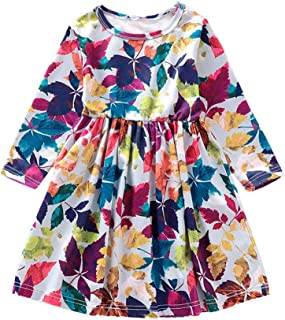 Baby Girls Sundress Maple Leaf Print Ruched Dress Clothes Set for 1-5 Years Little Kid Toddler Newborn Baby Girl Skirt