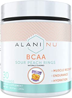 Alani Nu BCAA Branched Chain Essential Amino Acids, Muscle Recovery Vitamins for Post-Workout and Hydration, Sour Peach Ri...