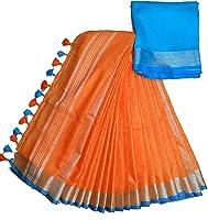HAIDER ALI AND SONS Women's Linen Slub Saree with Blouse Piece (Orange)