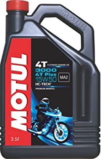 Motul 3000 4T Plus 15W50 API SM HC Tech Engine Oil for Royal Enfield Bullets (2.5 L)