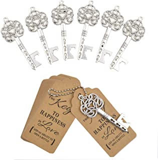 DerBlue 60 PCS Key Bottle Openers,Vintage Skeleton Key Bottle Opener,Skeleton Key Bottle Openers Wedding Favors Antique Rustic Decoration with Heart Shaped Kraft Paper Label Card