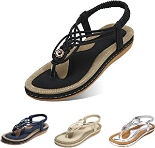 gracosy Damsandaler sommar strand flip flops string damer bohemiska kilskor elastisk T-rem flätade platta sandaler klämma ...