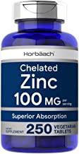 Chelated Zinc Supplement 100mg | 250 Tablets | High Potency & Superior Absorption | Vegetarian, Non-GMO, Gluten Free | by Horbaach