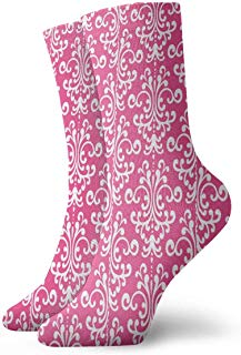 Crew Socks Pink Damask Athletic Socks Designer Anti Bacterial Odor Cushion Short Stocking