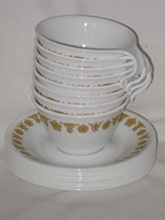 SET OF 8 - Vintage 1970's Corelle Corning Ware Butterfly Gold Cups & Saucers