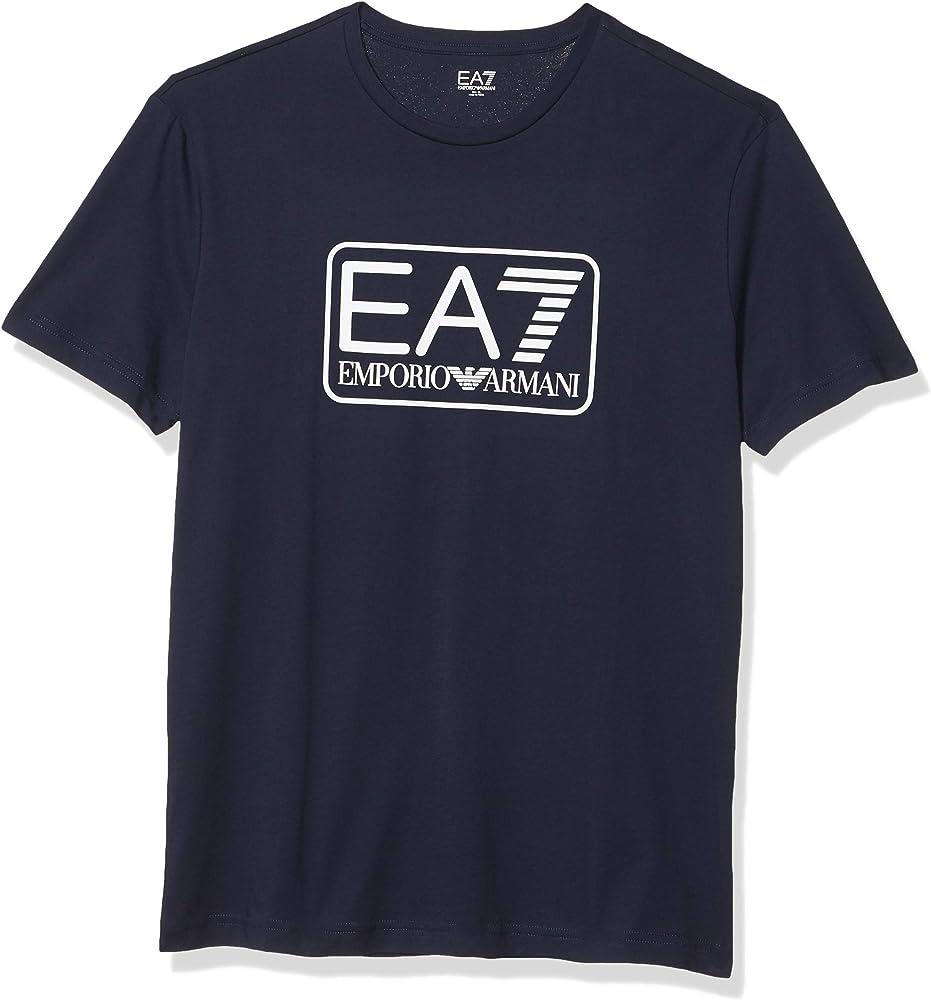 Emporio armani t shirt, maglietta a maniche corte per uomo,100% cotone, blu 8NPT10PJNQZ1554A