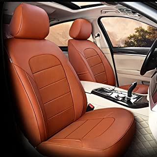 AutoDecorun 21pc/Set 3 Rows Genuine Leather & Leatherette Car Seat Cover for Nissan Patrol Seat Covers y61 y62 y60 Car Accessories Custom Fit Cowhide 7 & 8 Seats Protectors 2004-2018 (Brown)