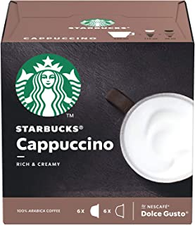 Starbucks Cappuccino Coffee Pods/ Coffee Capsules by Nescafe Dolce Gusto, 6 Servings