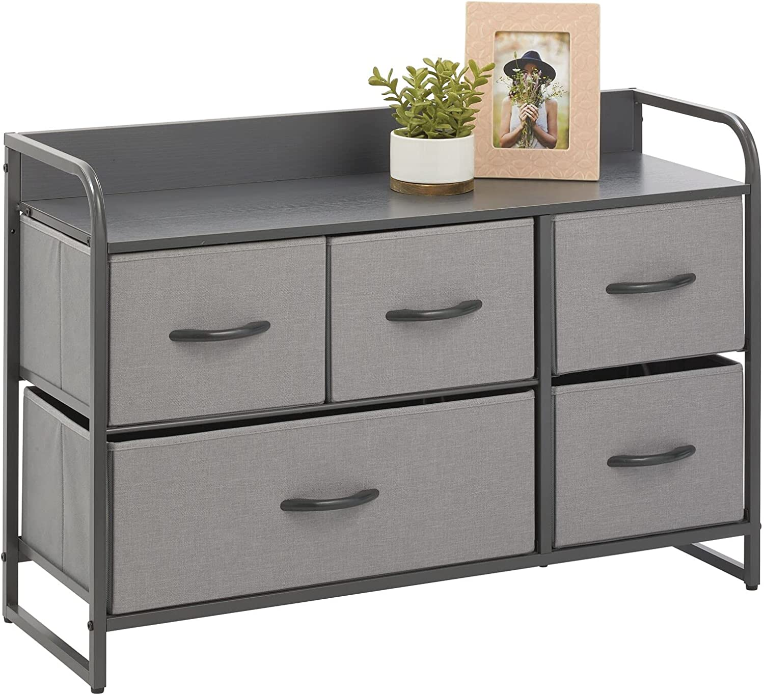 National uniform free shipping mDesign Wide Dresser Storage Max 40% OFF Chest Wood Sturdy Top Frame Steel