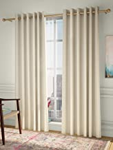 Curtain Label Set of 2- Curtain Label Pulse Jacquard Eyelet Pleat Curtain (Cream, 4.5 X 9 feet (W X H))