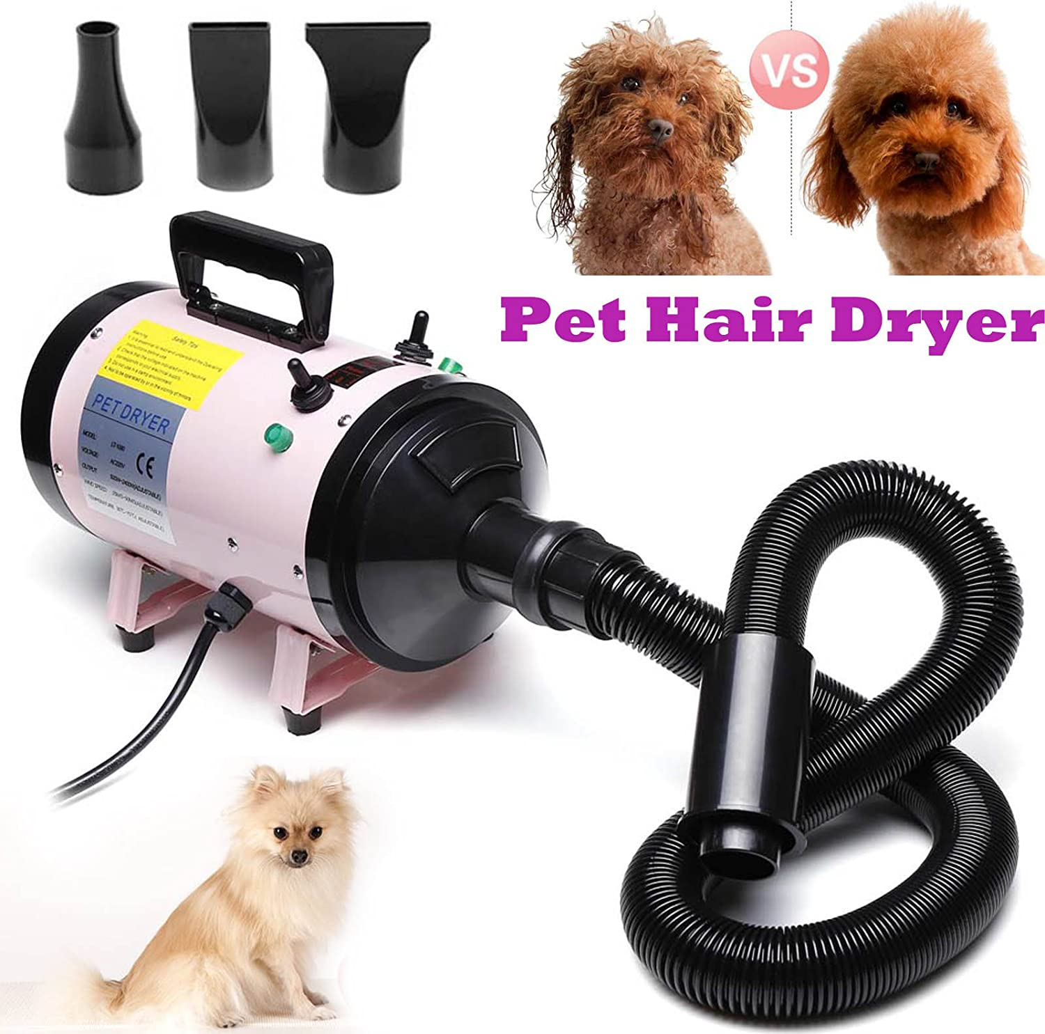 Autofather 2800W Dog Cat Pet Professional Grooming Hair Dryer with 3 Nozzles 2.5M Flexible Hose 2Stage Speed Adjustable Temperature, 2 Year Warranty