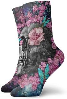 BJAMAJ Calcetines Unisex con diseño de Calavera y Flores Rosas, Calcetines de poliéster para Adultos, Calcetines de algodón
