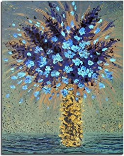 Renaiss 12x20 Inches Flower Scenery Oil Painting Blue Flower in Yellow Vase Canvas Picture Art Prints Frameless Rolled Package Home Wall Decor Living Room Kitchen Cafe Office Bedroom Artworks Poster