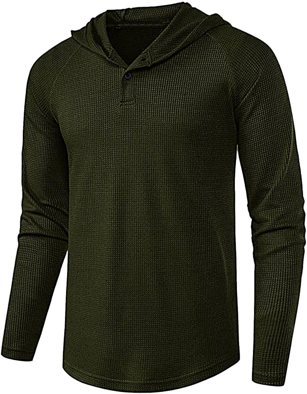 FUNEY Men's Casual Lightweight Long Sleeve Raglan Waffle Henley Jersey Hoodie Shirt Solid Color Hooded Sweatshirt Tops