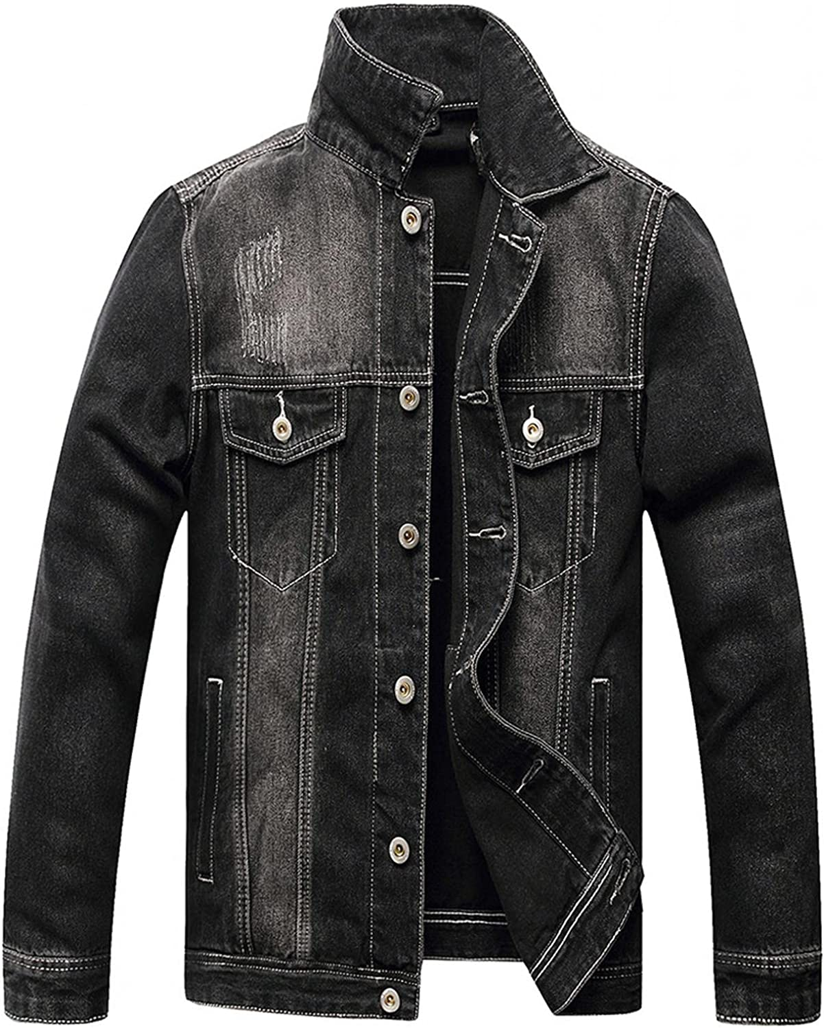 Jacekt for Men Classic Ripped Slim Fit Holes Denim Jacket Distressed Button Up Long Sleeve Trucker Coat with Pocket