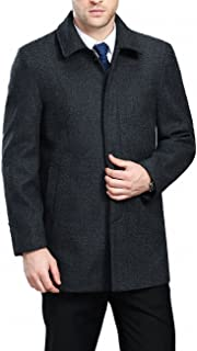 FASHINTY Men's Classical Bussiness Style Single Breasted Plaid Wool Coat #00220