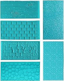 TheStriven 6 pièces 3D Effet Dentelle Motif Classique Gâteau Fournitures DIY Moule à Gâteau Fondant Blue Moules Tapis d'Im...