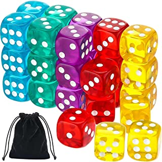 6-Sided Educational Counting Toy, Cneer 50-Pack 14MM Translucent & Solid Toys of Vintage Colors Counting Toy for Games and...